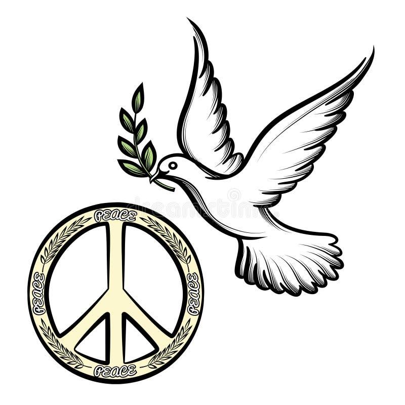 O Pacífico e a pomba da paz ilustração do vetor