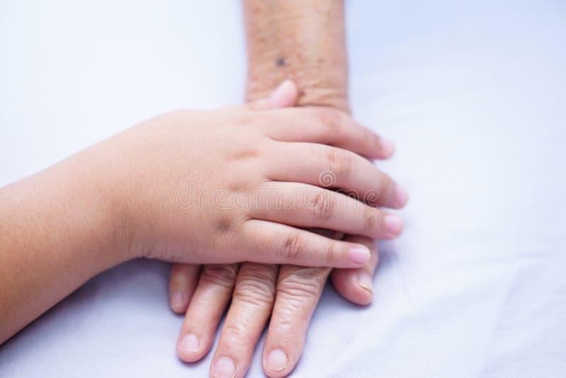 O paciente superior da mão da terra arrendada da criança ou idoso asiático da senhora idosa com amor, importa-se, incentiva-se e  foto de stock