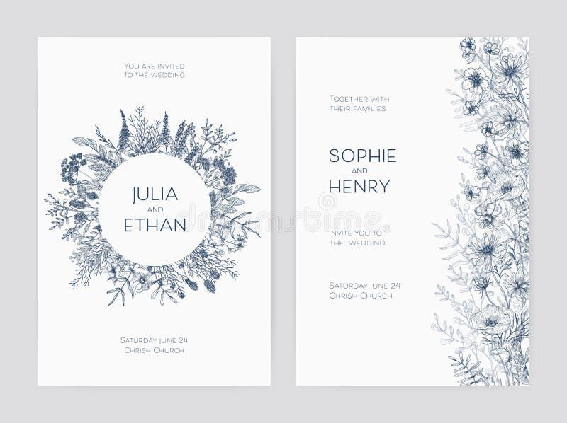 O pacote de moldes elegantes do convite do banquete de casamento decorados com flores bonitas e a grinalda redonda entregam tirad ilustração do vetor