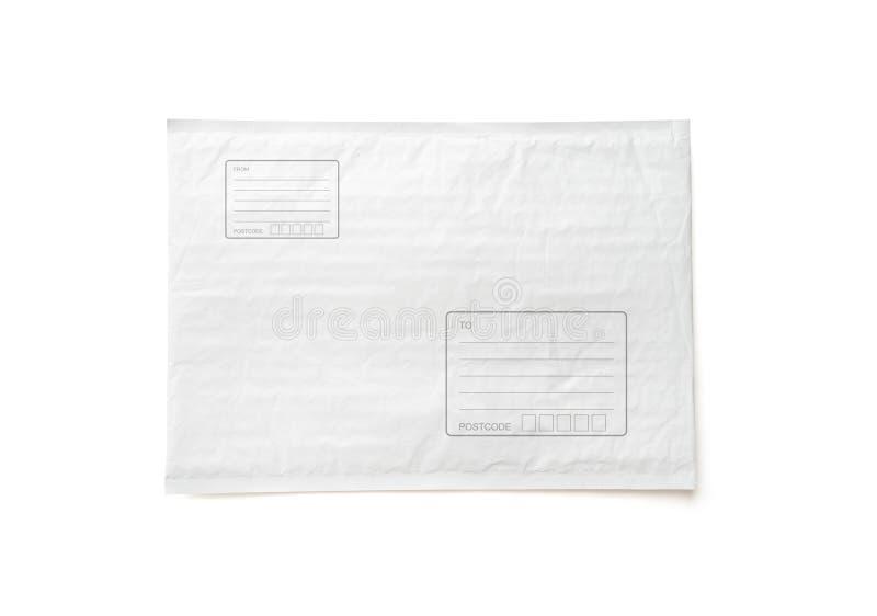 O pacote postal branco com área para escreve o endereço Fundo plástico do objeto do pacote para a propaganda de compra em linha i fotografia de stock