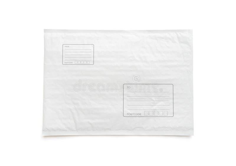 O pacote postal branco com área para escreve o endereço Fundo plástico do objeto do pacote para a propaganda de compra em linha i foto de stock royalty free