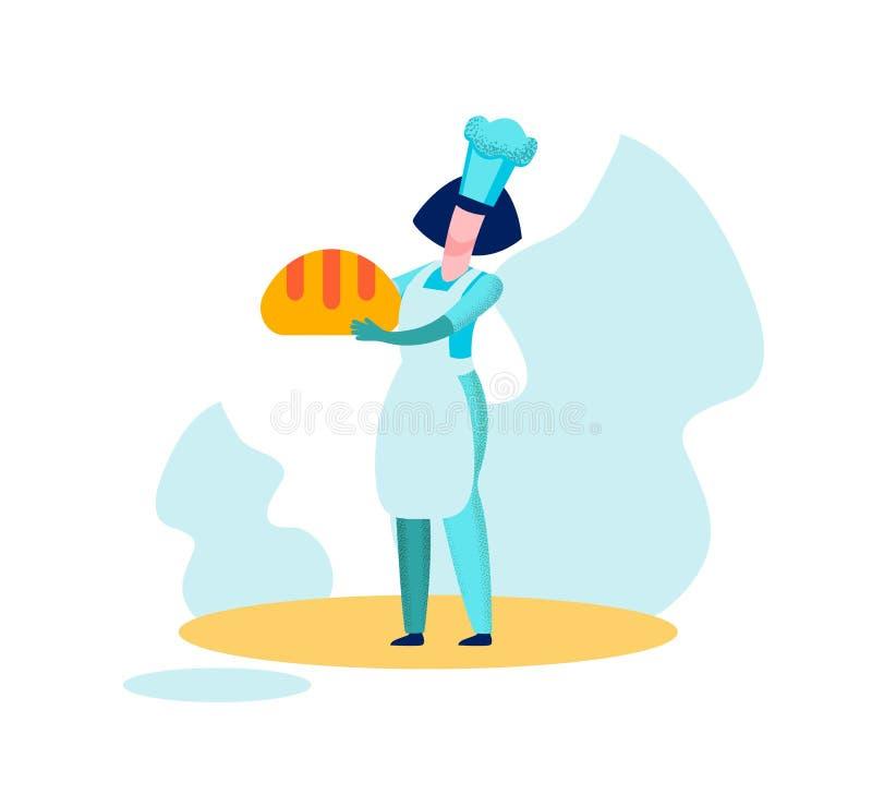 O padeiro Chief Holding Bread da mulher cozeu a produção ilustração do vetor