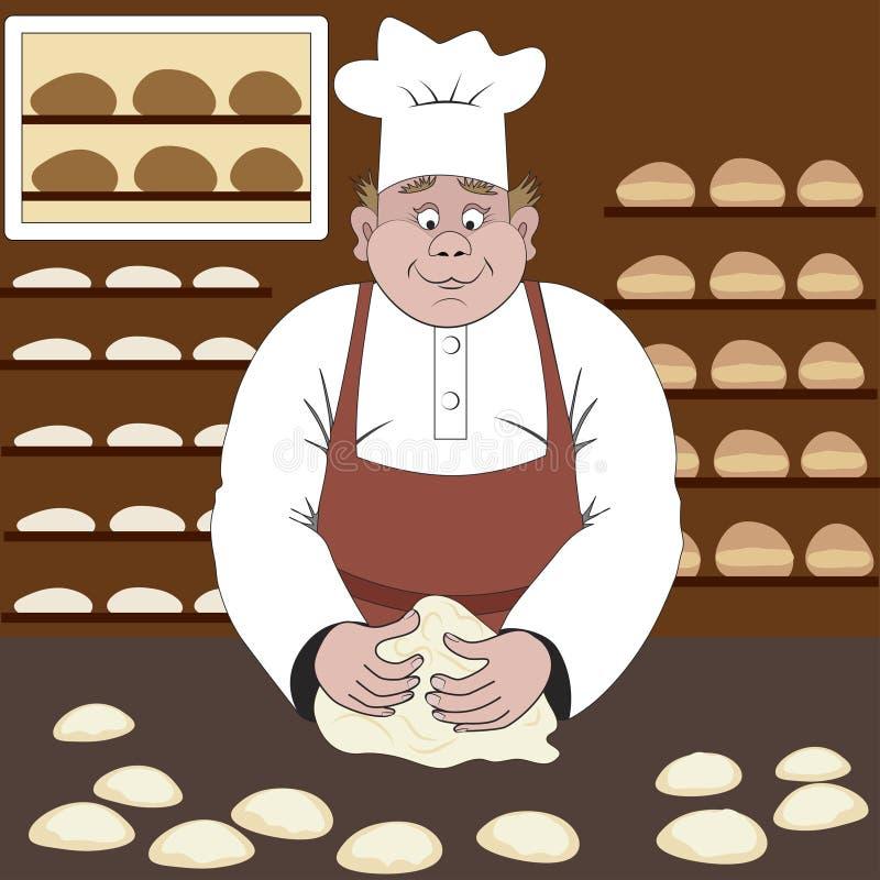 O padeiro faz o pão ou os bolos em uma padaria ilustração royalty free