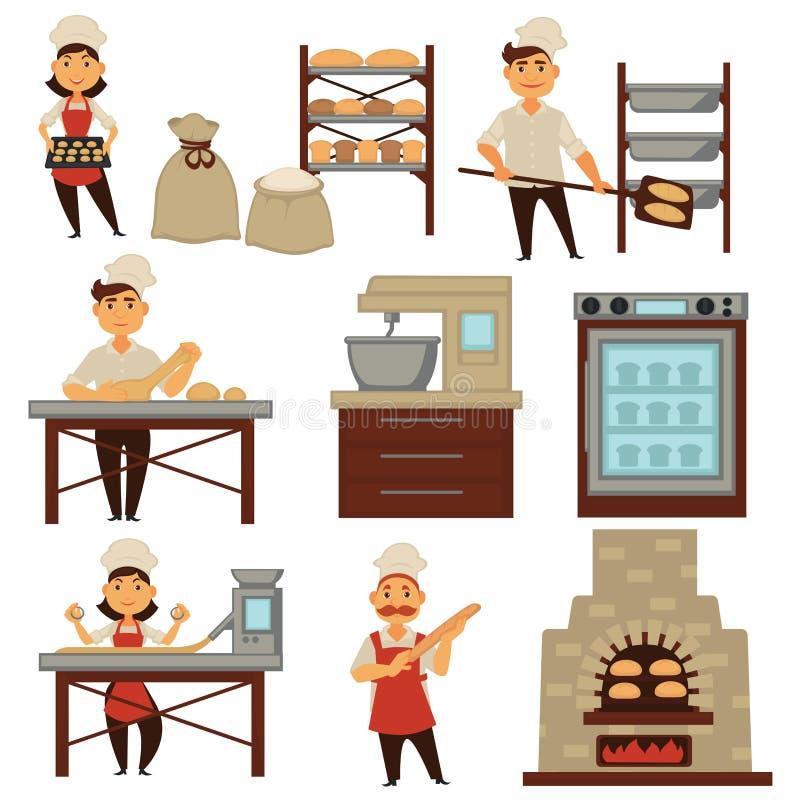 O padeiro no vetor do processo do pão do cozimento da loja da padaria isolou ícones dos povos da profissão ilustração do vetor