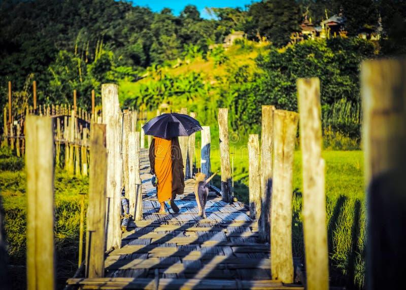 O padre e o cão andam em uma ponte de madeira pequena imagens de stock royalty free