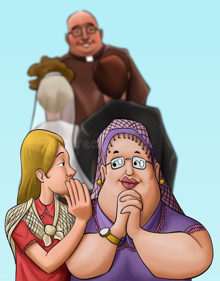 O padre em uma cerimónia de casamento ilustração do vetor