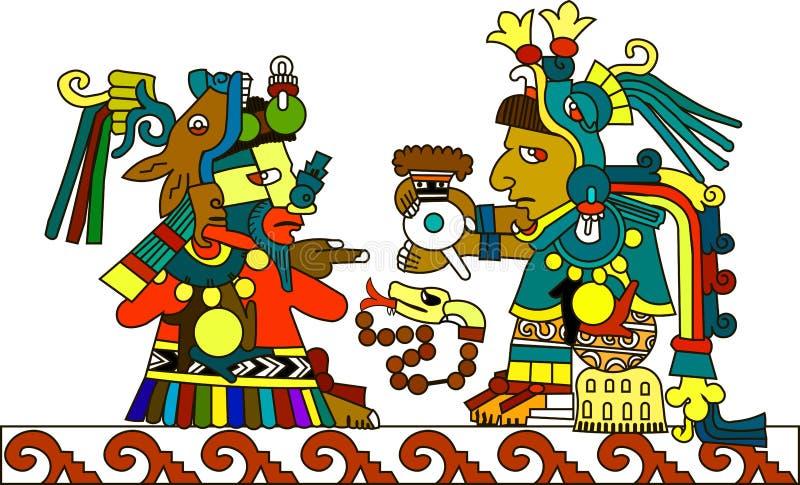 O padre indiano dos astecas passa o chocolate quente ilustração royalty free