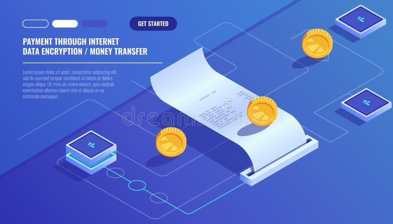 O pagamento através do Internet, transferência de dinheiro da criptografia de dados, paga a conta eletrônica, recibo de papel do  ilustração stock