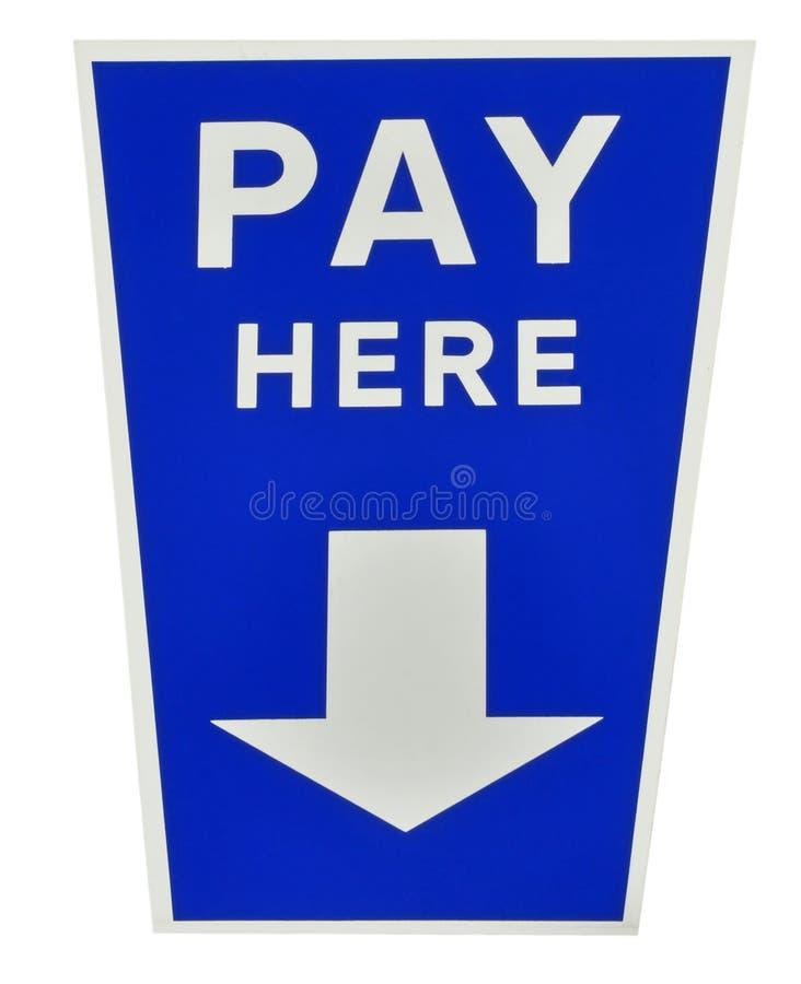 O pagamento azul aqui assina imagem de stock royalty free