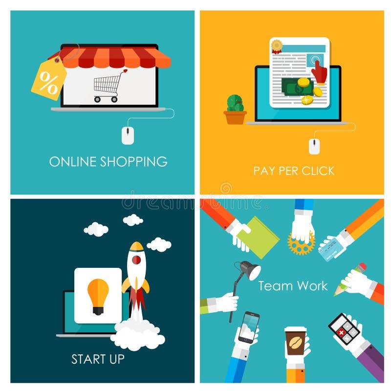 O pagamento pelo clique, compra em linha, negócio começa acima ilustração stock