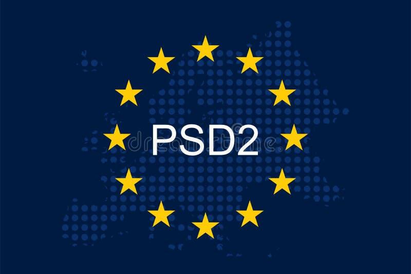 O pagamento presta serviços de manutenção à diretriz orientadora 2 PSD2 ilustração stock
