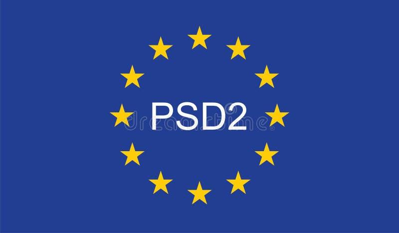 O pagamento presta serviços de manutenção à diretriz orientadora 2 PSD2 ilustração royalty free