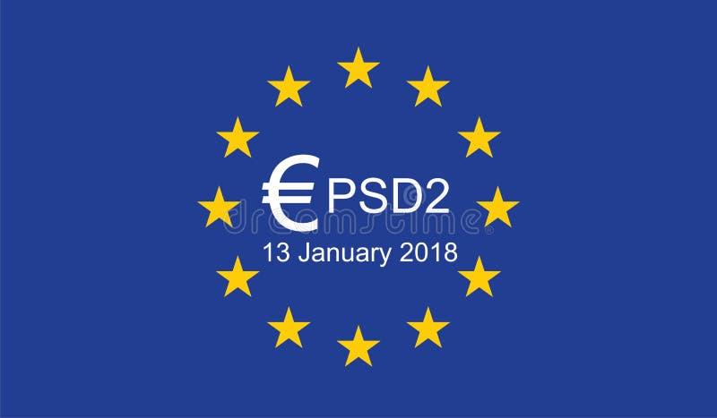 O pagamento presta serviços de manutenção à diretriz orientadora 2 PSD2 ilustração do vetor