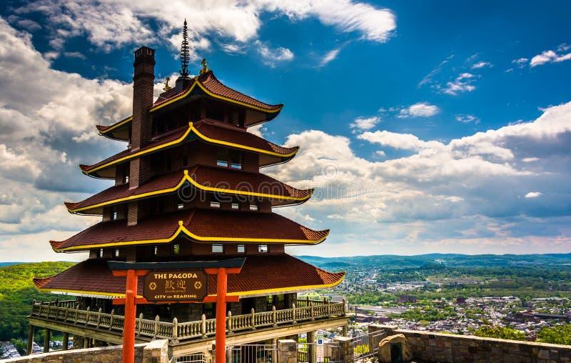 O pagode na movimentação da skyline na leitura, Pensilvânia fotografia de stock royalty free
