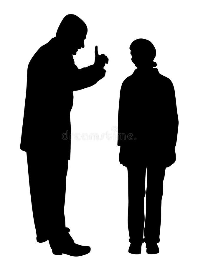 O pai discute sua filha adolescente assustado ilustração do vetor