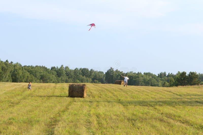O pai e a filha correm através do campo. imagem de stock