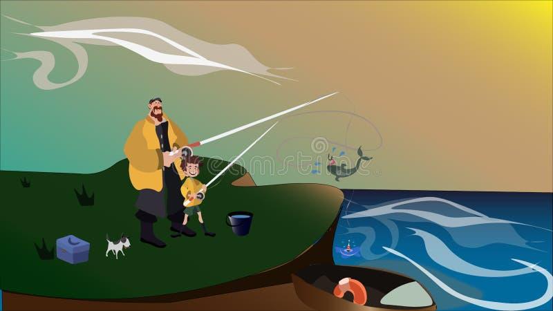 O pai e o filho do pescador no beira-mar estão pescando junto ilustração stock
