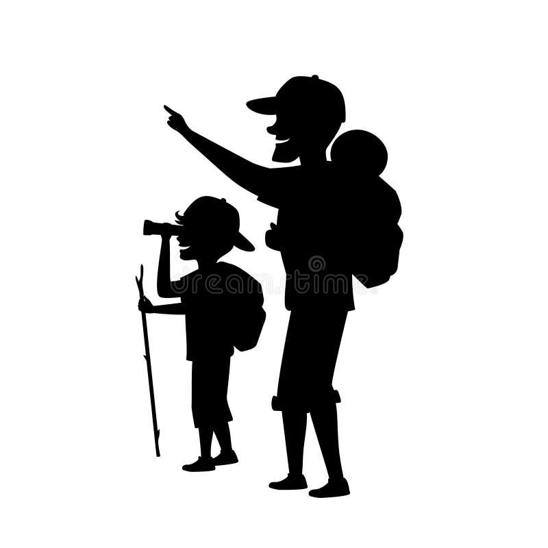 O pai e o filho fora, o menino e o homem que acampam caminhando a viagem com trouxas isolaram a silhueta da ilustração do vetor d ilustração royalty free