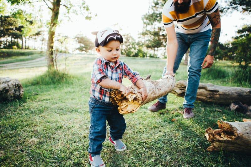 O pai e o filho recolhem a lenha na floresta para um fogo Dia do `s do pai fotos de stock royalty free