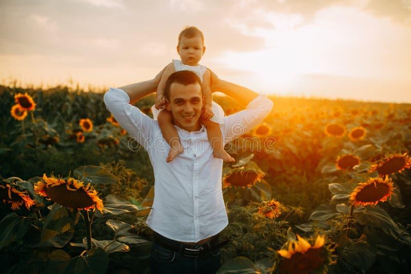 O pai feliz anda com sua filha ao campo do girassol foto de stock