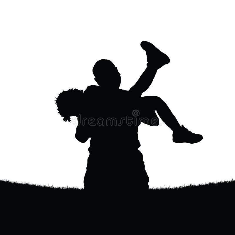 O pai guarda uma filha em seus braços ilustração royalty free