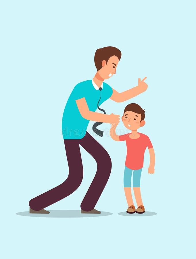 O pai irritado grita na criança assustado da virada O conflito da família entre crianças e pais vector o conceito ilustração royalty free