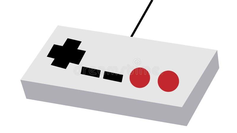 O painel antigo retro velho cinzento do manipulador do manche do moderno do vintage 80 do ` s, 90 o ` s com os botões vermelhos e ilustração royalty free