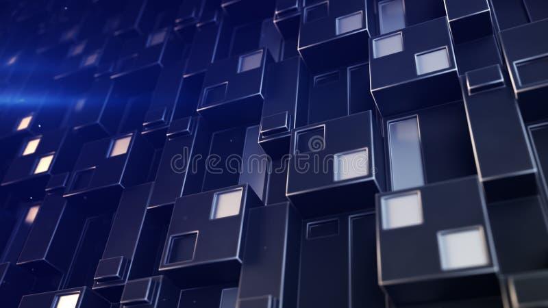 O painel futurista da tecnologia com conjuntos cúbicos 3D rende o illust ilustração stock