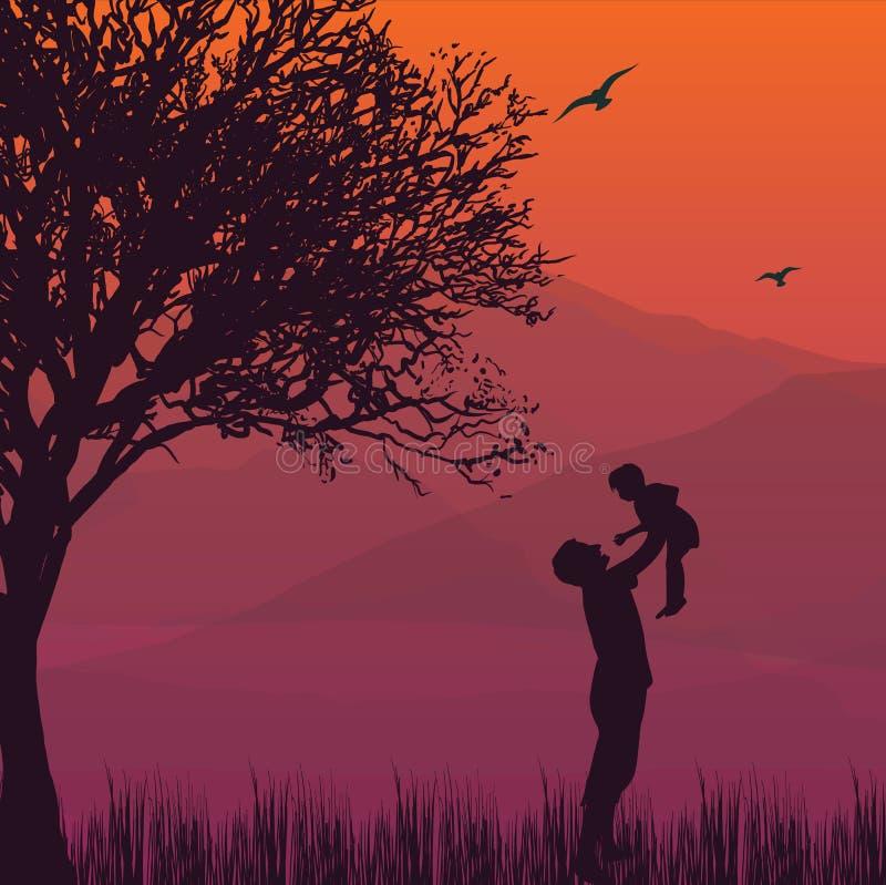 O paizinho da silhueta sustenta o filho do bebê nos momentos felizes da paternidade do ar ilustração stock