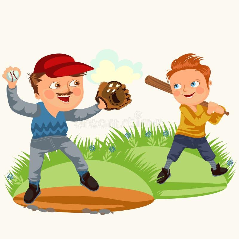 O paizinho no baseballcap com bola e a luva entregam o jogo com basebol do filho, jogador do menino que guarda o bastão que lutar ilustração royalty free