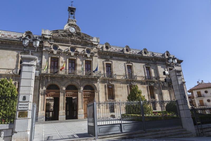 O palácio do conselho do condado de Jae'n, a fachada neoclássico é fotografia de stock
