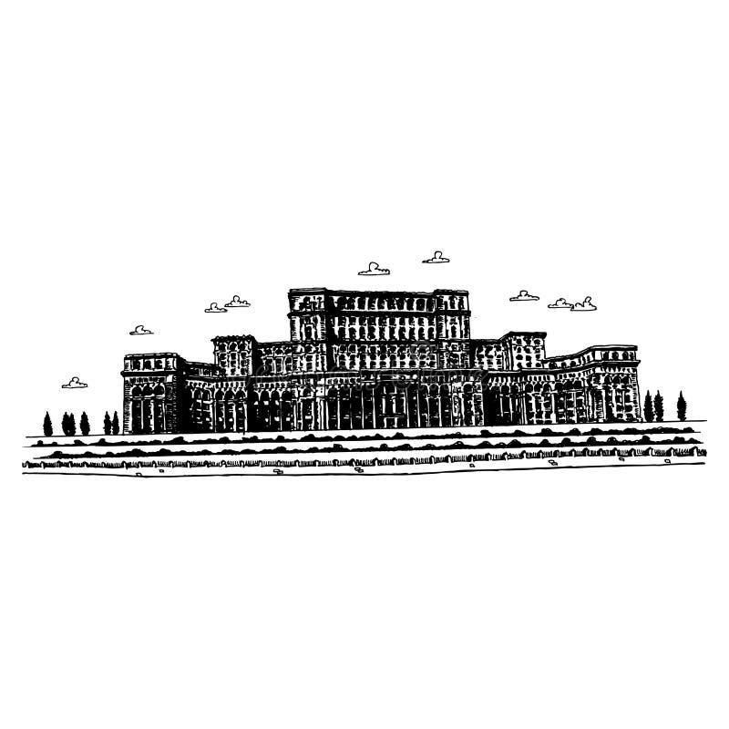 O palácio do parlamento - Bucareste, Romania ilustração royalty free