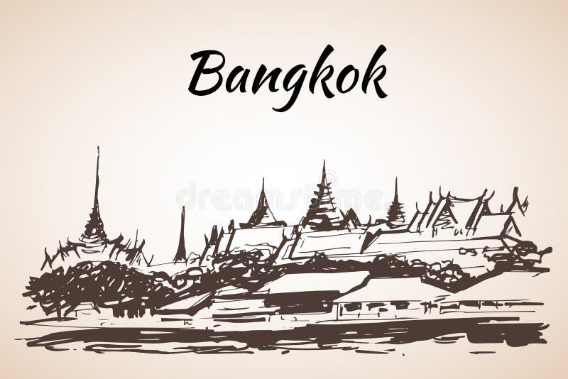 O palácio grande - complexo das construções no centro de Banguecoque, ilustração stock