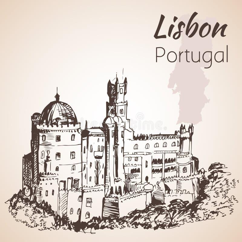 O palácio nacional de Pena - Portugal ilustração stock