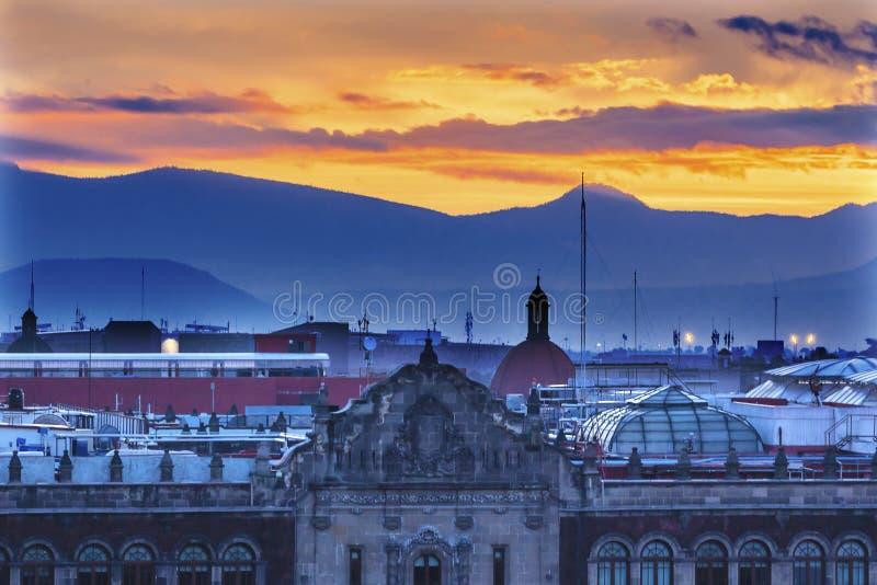 O Palácio Nascer do sol Zocalo Cidade do México do presidente imagem de stock