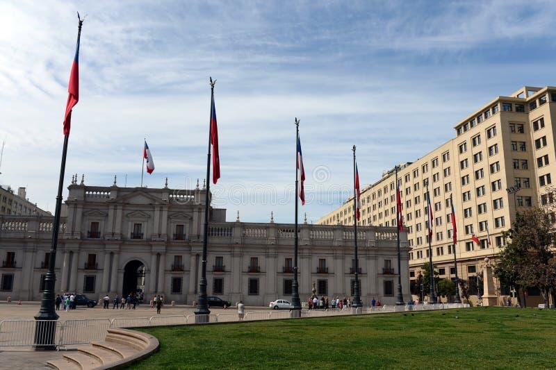 O palácio presidencial em Santiago o Chile La igualmente chamado Moneda fotos de stock royalty free