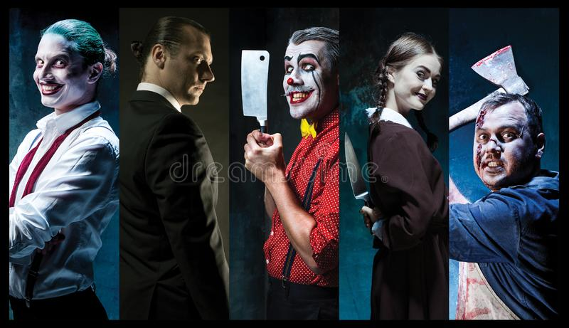 O palhaço assustador que guarda uma faca no dack Conceito de Halloween fotografia de stock