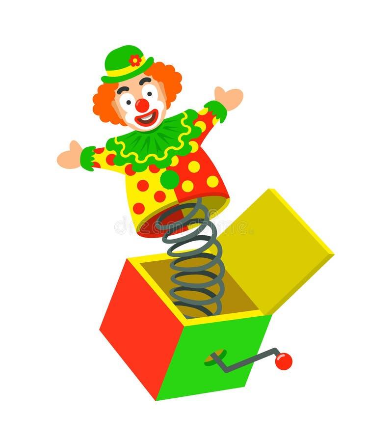O palhaço de circo do brinquedo em uma mola estala fora de uma caixa ilustração royalty free