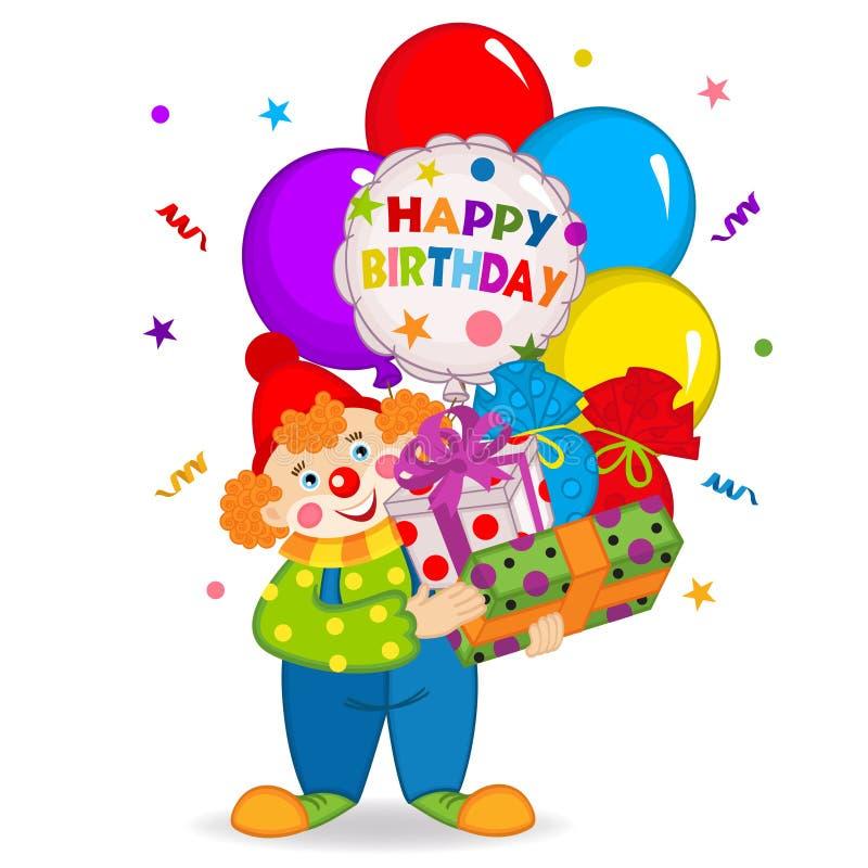 O palhaço mantém balões e presentes de aniversário ilustração stock