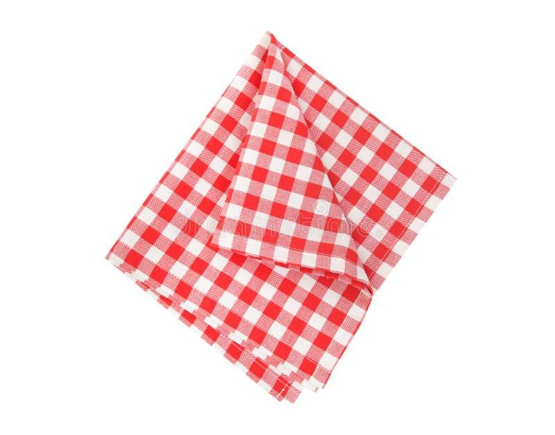 O pano do piquenique dobrou-se isolado Guardanapo Checkered imagens de stock royalty free