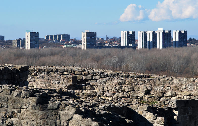 O panorama de Belgrado foto de stock