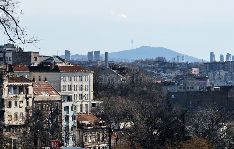 O panorama de Belgrado imagens de stock