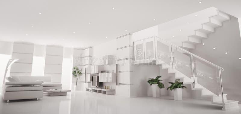 O panorama interior 3d do apartamento moderno branco rende