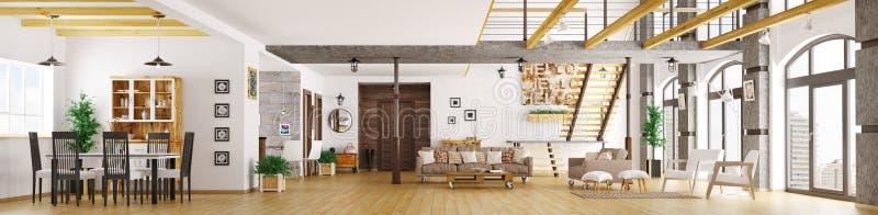 O panorama interior 3d do apartamento moderno do sótão rende ilustração royalty free