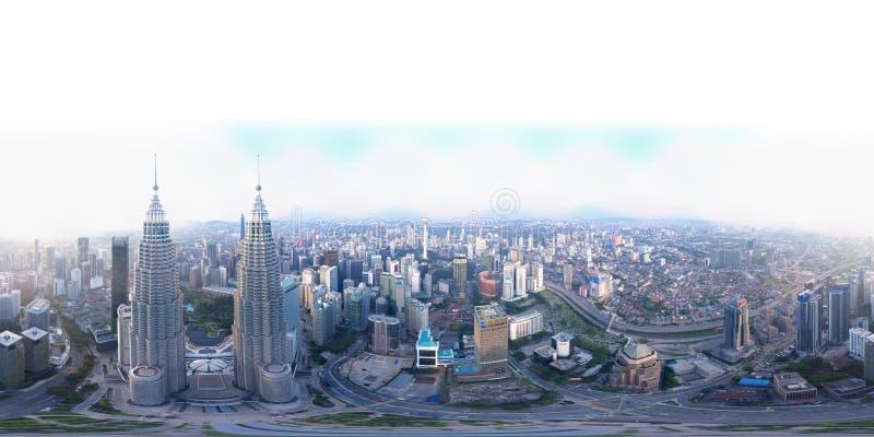 o panorama 360 por 180 graus dobra a ideia sem emenda do panorama da opinião aérea Kuala Lumpur, Malásia foto de stock