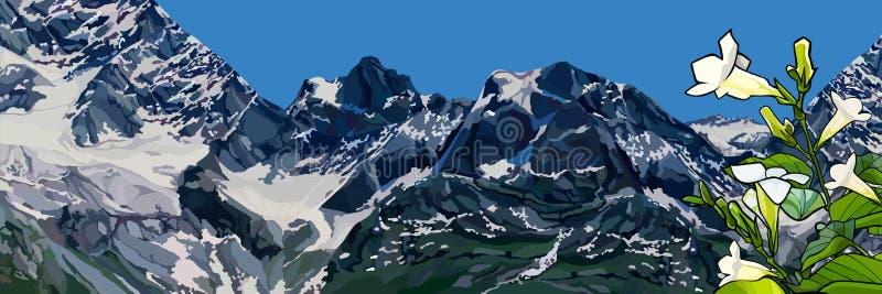 O panorama tirado do fundo da neve tampou montanhas e uma planta com as flores ilustração stock