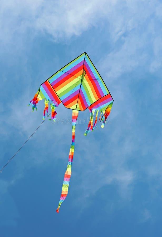 O papagaio com as cores do arco-íris voa no céu fotografia de stock