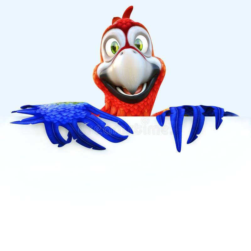 O papagaio de sorriso que guarda um sinal vazio da placa branca com sala para o texto ou a propaganda do espaço da cópia em um br ilustração do vetor