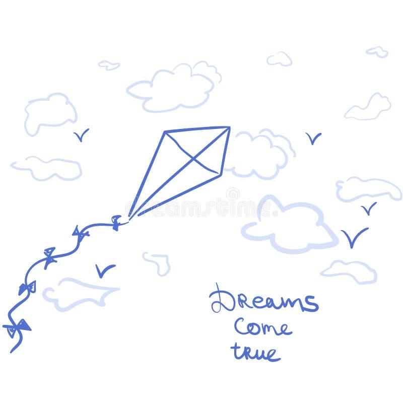 O papagaio e os sonhos dos desenhos animados vêm verdadeiro ilustração stock