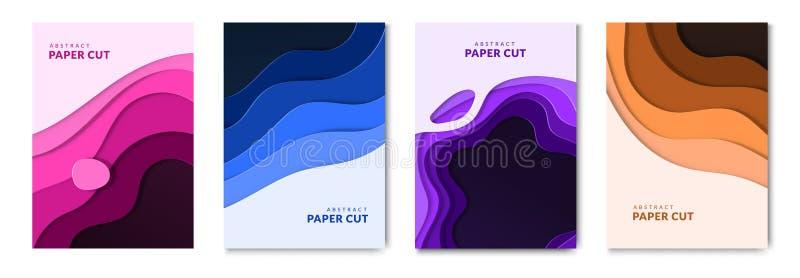 O papel abstrato cortou as bandeiras fluidas da Web e folhetos líquidos Fundo de papel das ondas com efeito 3d ilustração do vetor